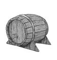 hand drawing wood barrel in white vector image vector image