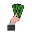 hand holding dollar bills money icon image vector image vector image