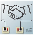 Hand Shake Electric Line Business Infographic vector image vector image