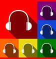 headphones sign set of icons vector image vector image