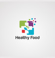 healthy food logo iconelementand template vector image vector image