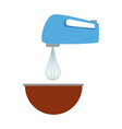 kitchen electric mixer bowl preparation food vector image