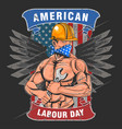 labour day usa american flag with wings vector image