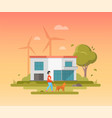 landscape with windmills - modern flat design vector image vector image