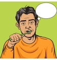 Man brushing his teeth morning pop art vector image