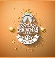 merry christmas with gold vector image vector image