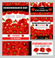 remembrance day lest we forget poppy banner vector image vector image