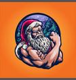 santa claus strong merry christmas vector image