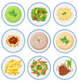 set of food on dished vector image vector image
