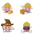 set of popcorn character with envelope box witch vector image vector image