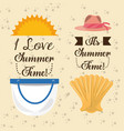 set summer icon over the soft sand vector image vector image