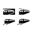set train icons in silhouette style vector image vector image