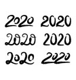set with hand drawn 2020 lettering designs vector image
