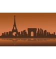 Silhouette of eiffel tower with brown background vector image vector image