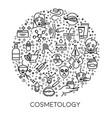 skincare and cosmetology line icons on poster vector image vector image