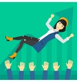 Successful business woman during celebration vector image vector image