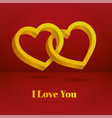 two hearts intertwined on white background vector image