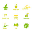 vegetarian food symbol organic food farm fresh vector image