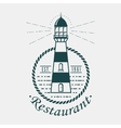 Vintage lighthouse logo rounded by rope or sling vector image