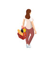 woman with grocery basket cart from supermarket on vector image