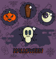 halloween flat concept icons vector image