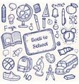 Back to School doodle set Hand draw school items vector image