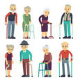 old people cartoon characters set senior vector image