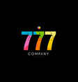 777 number grunge color rainbow numeral digit logo vector image vector image