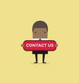 african businessman with contact us button vector image vector image