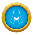 arabic man in traditional muslim hat icon blue vector image