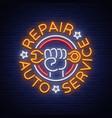 auto service repair logo in neon style neon sign vector image