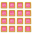 bicycle types icons set pink square vector image vector image