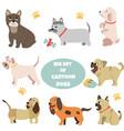 big set cartoon dogs different breeds vector image