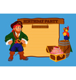 Birthday party invitation card with pirate vector image vector image