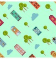 Bright urban houses and trees background vector image vector image
