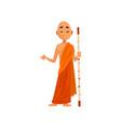 buddhist monk cartoon character in orange robe vector image