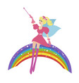 cartoon fairy with a magic wand sitting on the vector image vector image