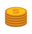 cartoon golden coin pile dollar vector image