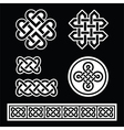 Celtic Irish patterns and braids on black vector image vector image