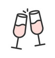cheers champagne merry christmas related icon set vector image