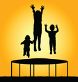 children jump silhouette vector image