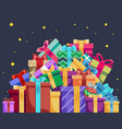 christmas cartoon gift box new year pile gifts vector image
