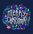 christmas lettering and elements wreath vector image