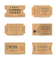 cinema ticket ancient set vector image vector image