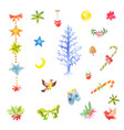 collection little watercolor christmas vector image