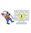 computer thief has broken his crowbar 2 vector image