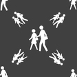 crosswalk icon sign Seamless pattern on a gray vector image