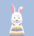 cute rabbit in striped dress cartoon character vector image