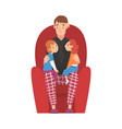 dad sitting on armchair with son and daughter vector image vector image