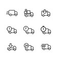 delivery truck icons set thin line vector image